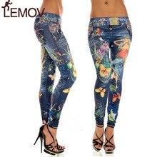 Сексуальные женские узкие черные джинсы джинсовые леггинсы эластичные брюки с принтом имитация ковбо Лучши