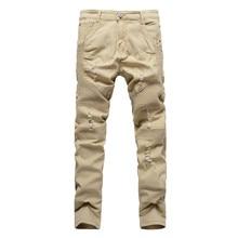 New 2017 Mens Khaki Kanye West Hole Ripped Biker Jeans For Men Stretch Slim Fit Folds Straight Designer Justin Bieber Jeans