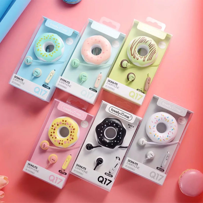 AHHROOU Cute Earphones <font><b>2018</b></font> New Macarons Donut Cartoon Earphone Q17 White/Pink/Green/Blue/Black/Mint Green Portable Earplug image