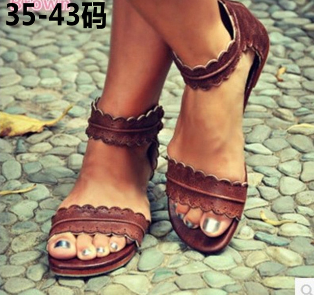 fc70ffd7f90ad Women Flat Lace Ankle Strap Summer Sandals Shoes Girls Gladiator Leaf Zip  Design Sandals Shoes Big Size 35 43-in Women's Sandals from Shoes on ...