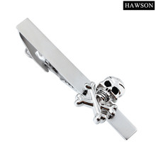 Tie Bar with Skull Skeleton Design Casual Tie Clips Costumes Party Gift with Box