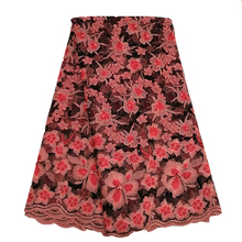 Ourwin African Lace Fabric 2019 High Quality Coral Black Nigerian Fabrics Embroidery Polyester Beaded