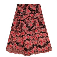 Ourwin African Lace Fabric 2019 High Quality Lace Coral Black Nigerian Lace Fabrics Embroidery Polyester Beaded Lace Fabric