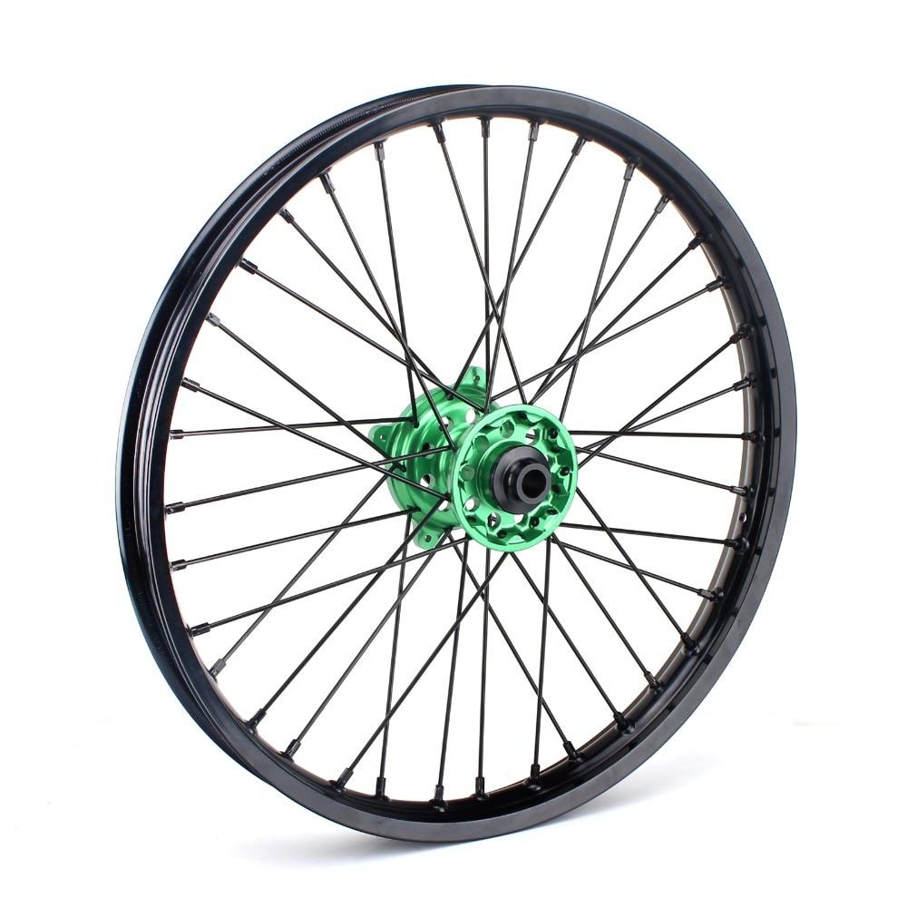 BIKINGBOY 1.6*21 36 Spokes MX Front Wheel Rim Hub For Kawasaki KX 125 KX 250 06 07 08 09 10 13 KX250F KX450F 2006 2017
