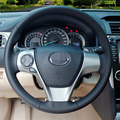 Hand-stitched Black Leather Steering Wheel Cover for Toyota Camry 2012