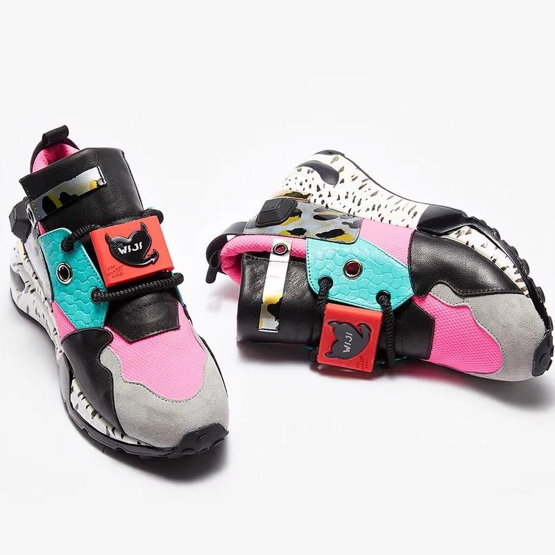 Chaussures Dames Femmes forme Cuir noir Rose Chaussure Filles Creeper Femme Punk Ugi Harajuku En Sneakers Plate Véritable Appartements 5Xpww8Wfq