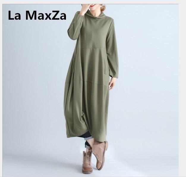 La MaxZa femmes col roulé patchwork Robe printemps automne décontracté à manches longues pull lâche Robe coton doux maxi Robe de grande taille