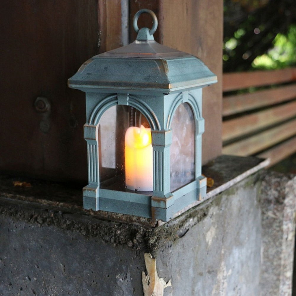 Vintage Led Solar Candle Light Waterproof Candlestick Lamp Outdoor Garden Hanging Lamps Auto Sensing Creative Lights Decoration