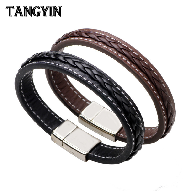Trend Men Genuine Leather Bracelet Stainless Steel Buckle Black Brown Woven Leather Punk Style Bracelet Homme Men Jewelry Gift