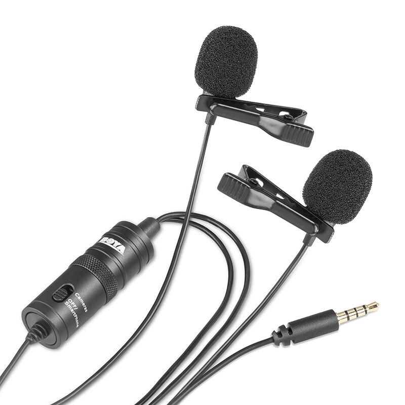 BOYA BY-M1DM Micr/ófono Lavalier de doble cabezal Omni-direccional Micr/ófono de video de solapa con clip para iPhone Canon Nikon