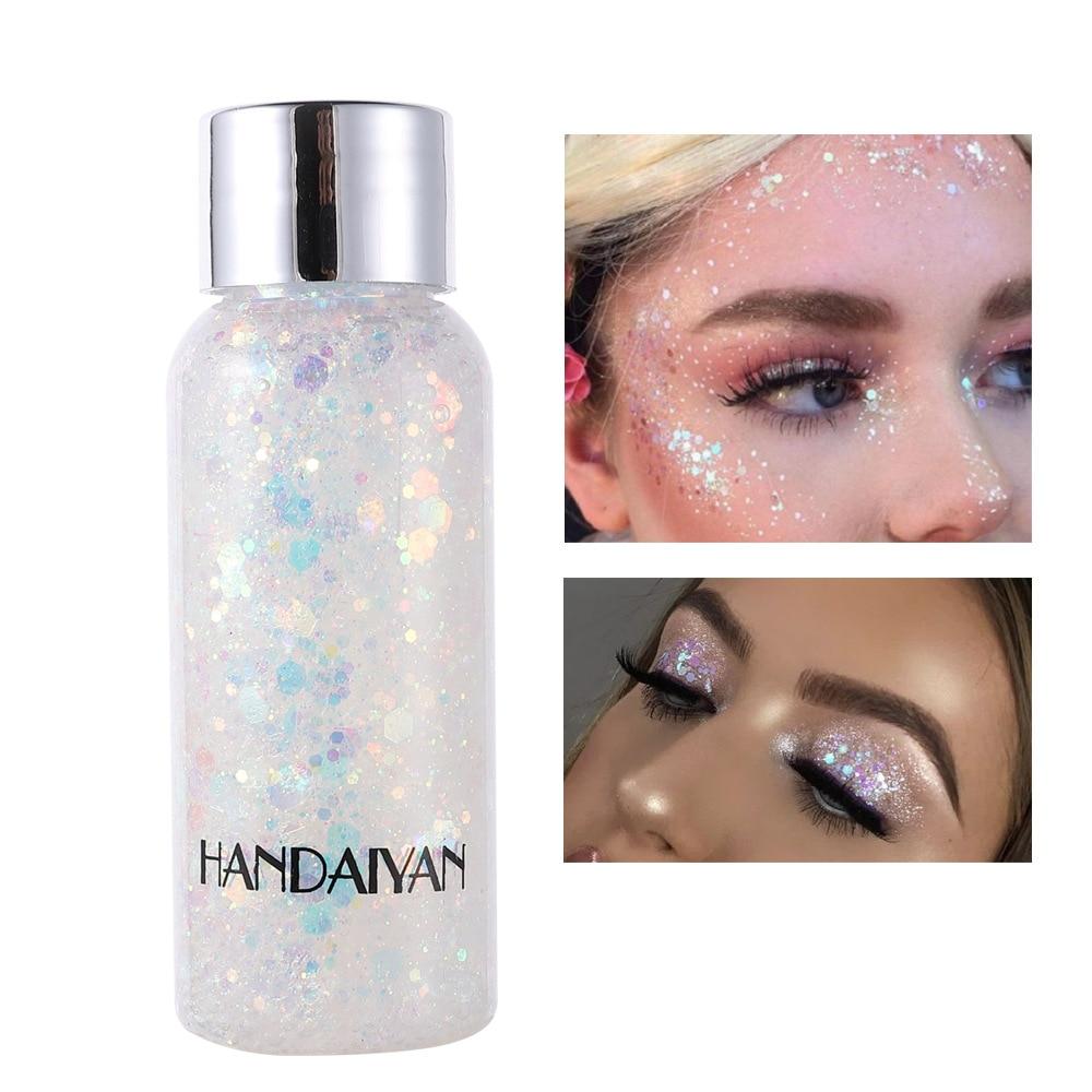 HANDAIYAN Holographic Mermaid Glitter Eyeshadow Gel Body Face Eye Liquid Loose Sequins Pigment Makeup Cream Party Festival Paste