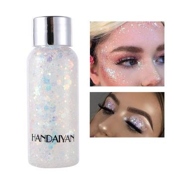 HANDAIYAN holograficzny Mermaid Glitter Eyeshadow Gel Body Face Eye Liquid Loose cekiny Pigment krem do makijażu Party Festival Paste tanie i dobre opinie Chiny Brokat KPXNNEW28 1pcs