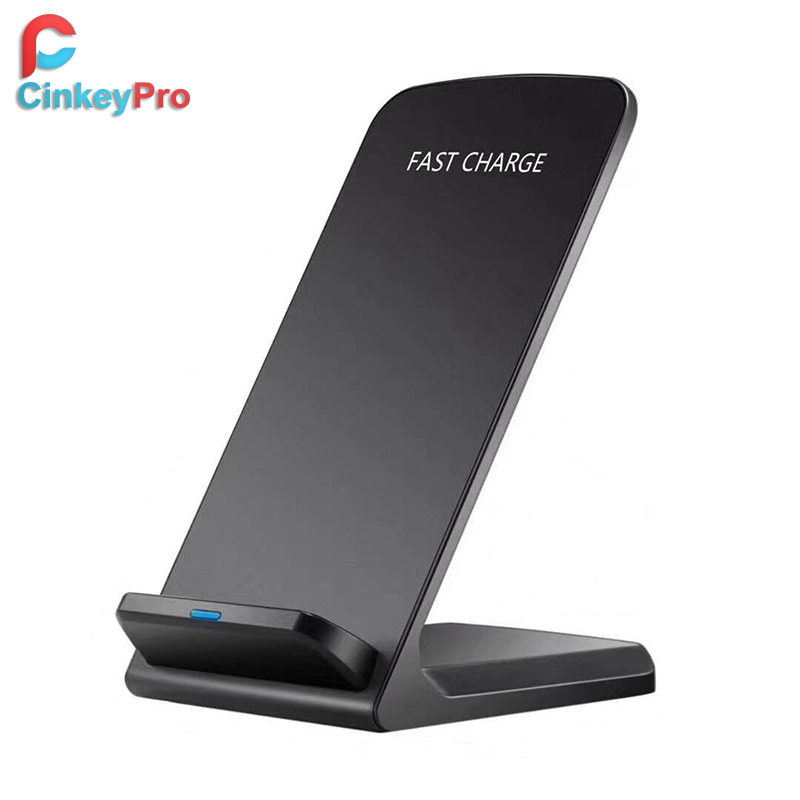CinkeyPro QI Draadloze Oplader Quick Charge 2.0 Snel Opladen voor iPhone 8 10 X Samsung S6 S7 S8 2- coils Stand 5 v/2A & 9 v/1.67A