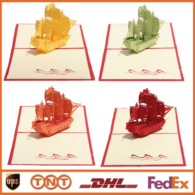 DIY Creative Sailing Boat Greeting Cards Handmade Kirigami Origami 3D Pop UP Card For Birthday Party Gift HQ1227 On Aliexpress