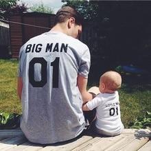 H898, модные фантастические одинаковые футболки для папы и сына, Семейный комплект, футболка с надписью «Big Man and Little Man 01»