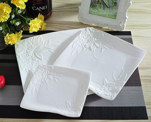 Vaisselle de service décorative en porcelaine | Céramique estampée de fleur, service d'assiettes plates pour la salade de boeuf Steak Spaghetti 3/ensemble - 2