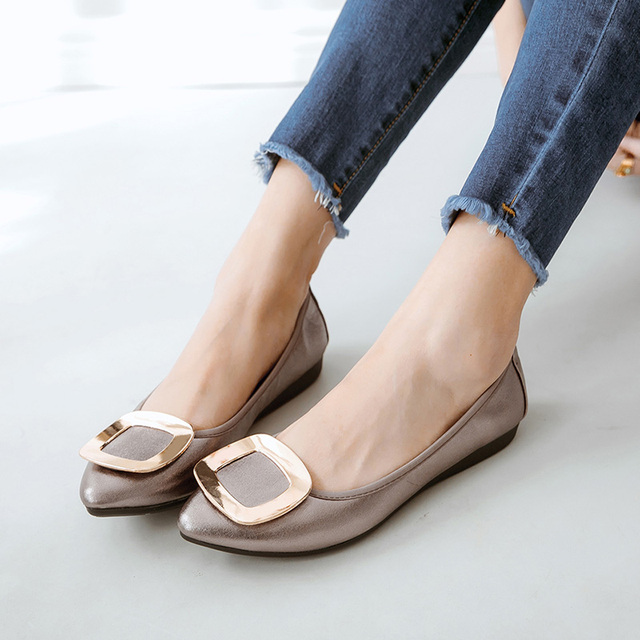 Luxury Brand 2018 Fashion Women Designer Blue Green Buckle Flats Foldable Casual Pointed Toe Ballerina Flat Plus Size Boat Shoes