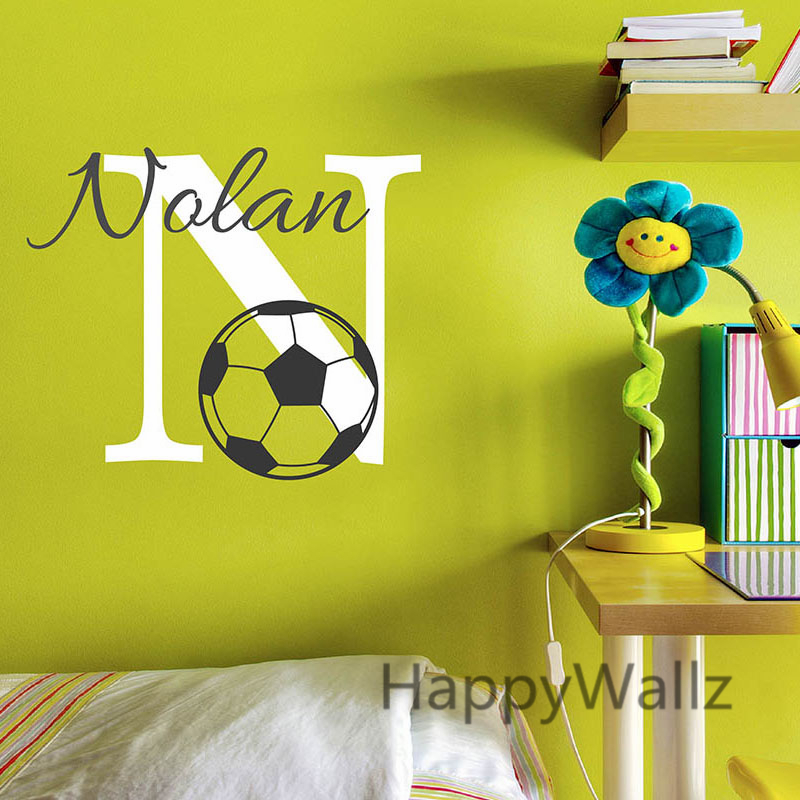 Baby nursery voetbal naam custom muursticker kinderkamer voetbal kinderen baby naam muurtattoo - Thema slaapkamer meisje ...