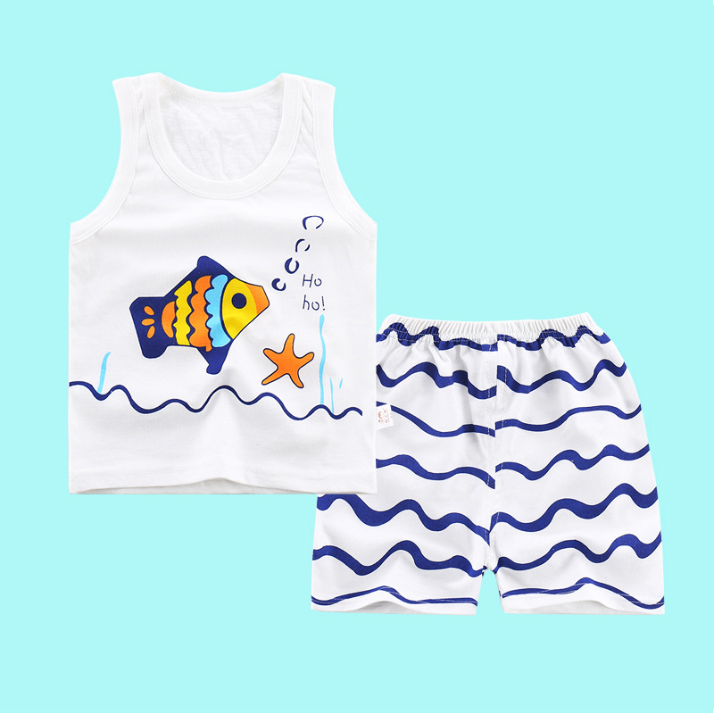 Summer Cartoon Pure Cotton Animal Children's Sets Casual Sleeveless Vest&Shorts Suits Baby Kids Children's Clothing Boys Clothes