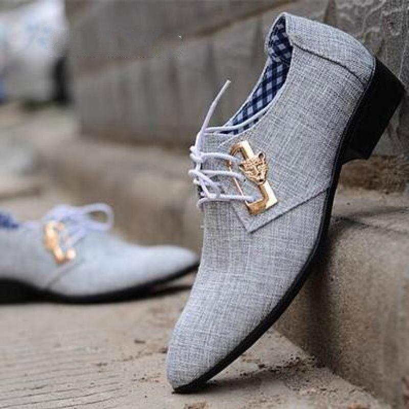 Весной и летом Для Мужчинs Бизнес Повседневное ткани обувь тенденция мужской галстук острым дышащий в британском стиле дышащие мужские туф... ...