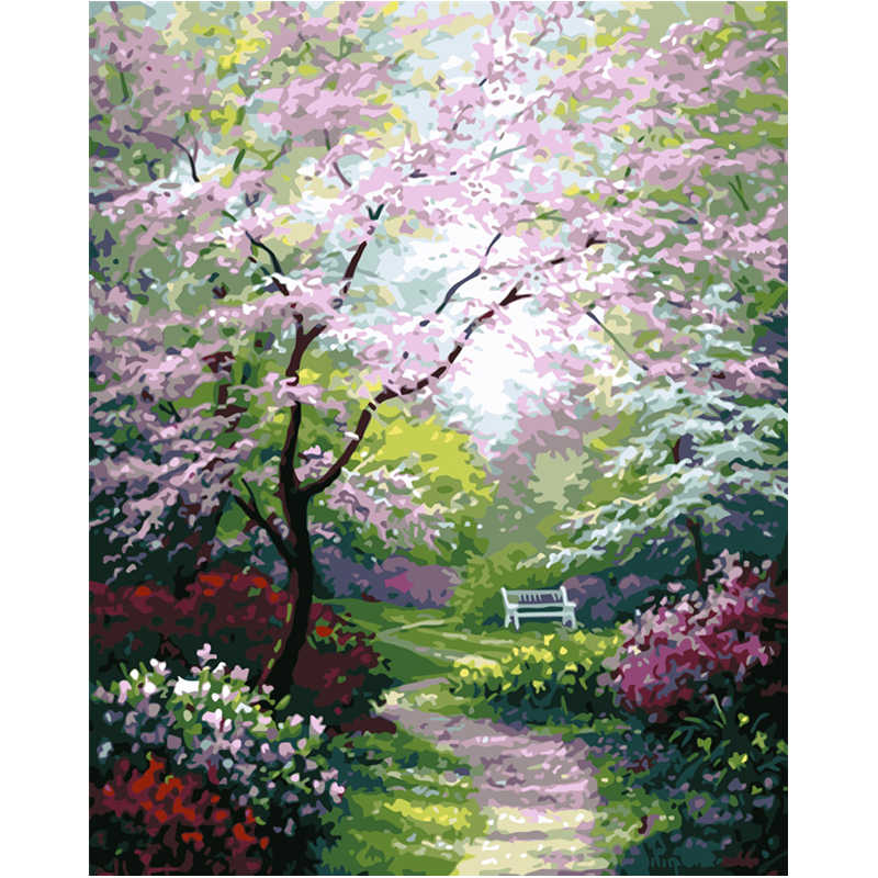 Spring  Path Hand Made Paint High Quality Canvas Beautiful Painting By Numbers Surprise Gift Great Accomplishment