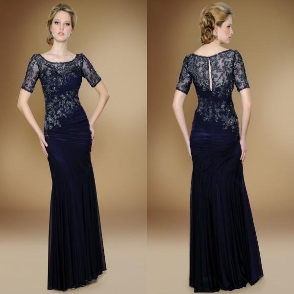 Perfeita Combinação de Chiffon Bainha Lace Apliques Plissados Mangas Curtas Marinha Mãe do Vestido Da Noiva