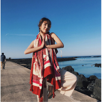 HOT Bohemian big scarf cotton and linen printed flowers shawl summer sun block scarfs pashmina shawls air conditioner