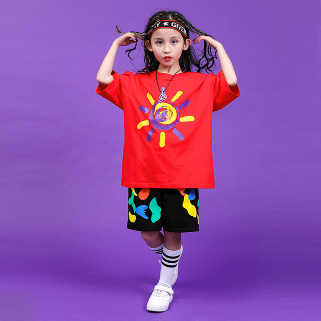 Children Hip Hop Clothing Oversized T Shirt Tops Casual Shorts for Girls Boys Jazz Dance Costumes Ballroom Dancing Clothes Wear 3