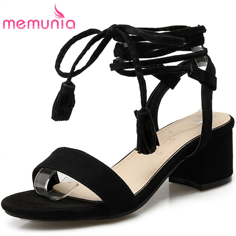 MEMUNIA 2017 new arrive women high heels sandals fashion flock lace-up summer shoes sweet college style big size 34-47 memunia 2017 fashion flock spring autumn single shoes women flats shoes solid pointed toe college style big size 34 47
