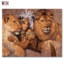 WEEN Lion and Girl Pictures by number DIY Handpainted Amimal Oil Painting Coloring For Home Decor Wall Artwork Gift
