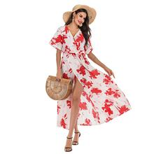 2019 New Yfashion Women Sexy Front Slit V Collar Floral Printing Short Sleeve Lacing Beach Dress