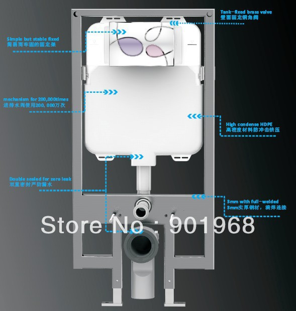 Dual Flush Concealed Tank For Wall Hung Toillet Bowl