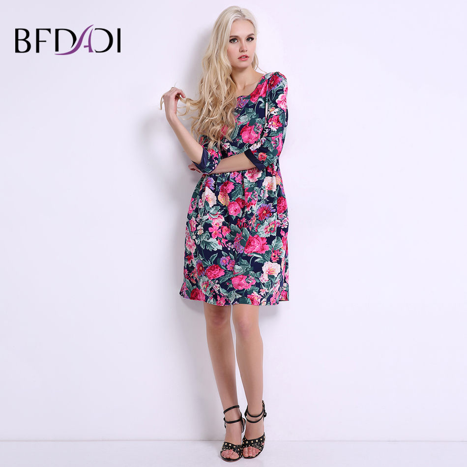 BFDADI 2019 Summer Women 꽃 Dress Sweet Casual 무릎 길이 A-line - 여성 의류 - 사진 2