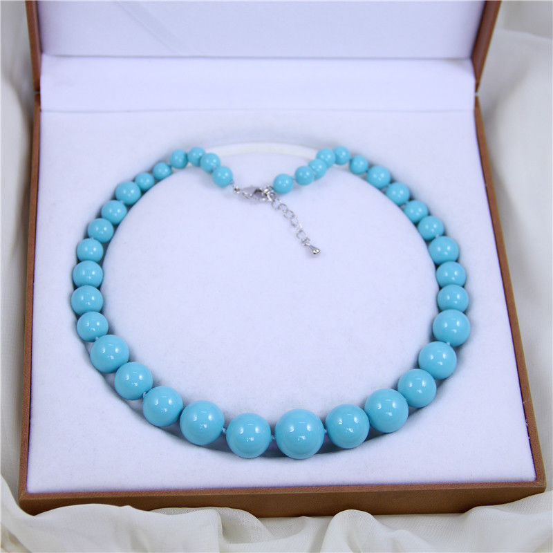 FREE SHIPPING>@@> AAA+ 8-16mm stone blue shell pearl luxury & fashion necklace 18 AAA style Fine Noble real Natural &