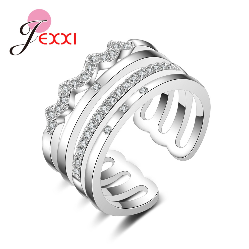 Explosion 925 Sterling Silver 4 Row Ring Pliers Crystal Zircon Jewelry  Wedding Party Christmas Gifts