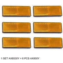 6 pièces AOHEWE ambre rectangulaire réflecteur auto adhésif ECE Approbation bande réfléchissante pour camion remorque camion bus caravane vélo
