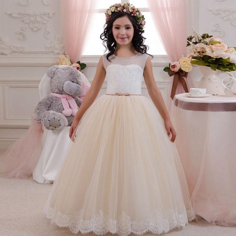 Robes de demoiselle d'honneur pour mariage Appliques Tulle o-cou sans manches robe de bal filles première Communion robes sur mesure Vestidos