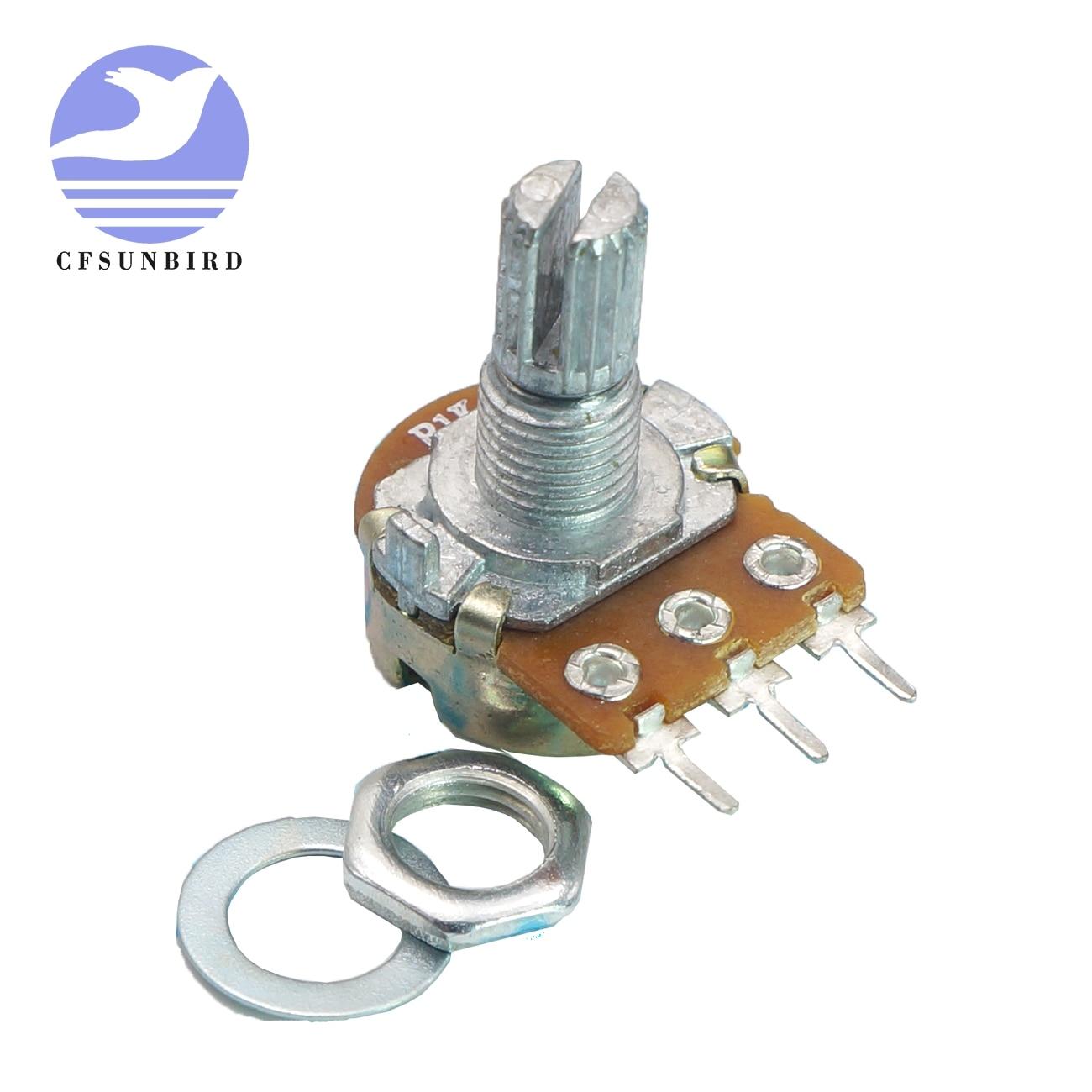 5PCS WH148 Potentiometer Ohm Linear Taper Rotary Shaft 15MM B1K~B500K 3//6 Pin