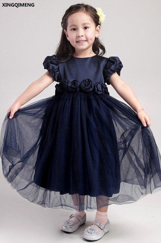 Cheap Simple Flower Girl Dresses Navy Blue Short Cap Sleeve First
