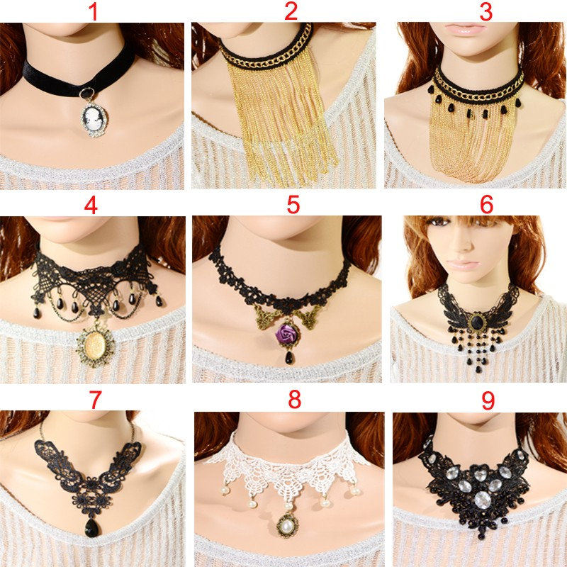 STRAND BLACK SUEDE  GOTH RETRO CHOKER NECKLACE MULTI Fashion Necklaces & Pendants