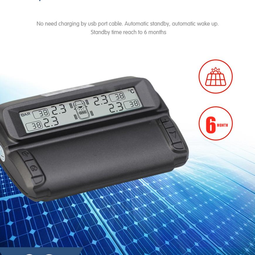 New Arrival Car Dual Power Solar Wireless Tire Pressure Monitoring System LCD BAR PSI TPM je20