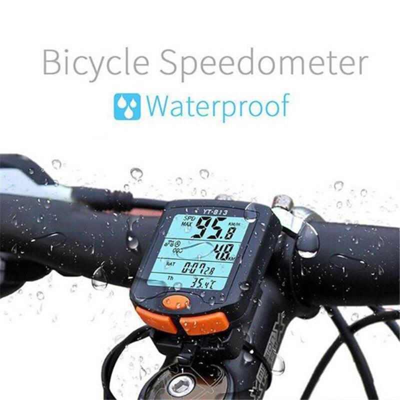 BOGEER Bicycle Computer Wireless Bike Computer Speedometer Digital Odometer Stopwatch Thermometer LCD Backlight Rainproof Black