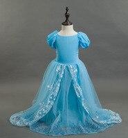 Fashion jurkjes voor meisjes aqua blauw katoenen voering bloem jurken met lange trein