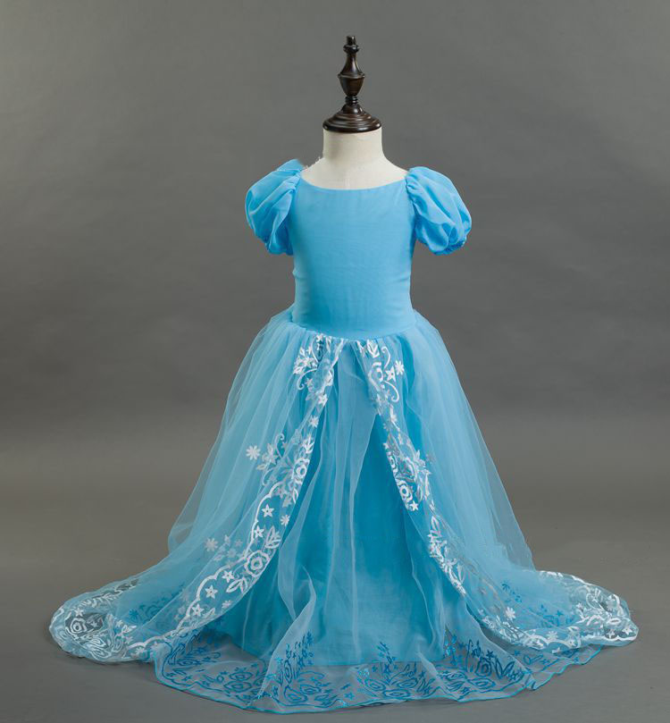 fashion evening party dresses for girls aqua blue cotton lining flower girl dresses with long train