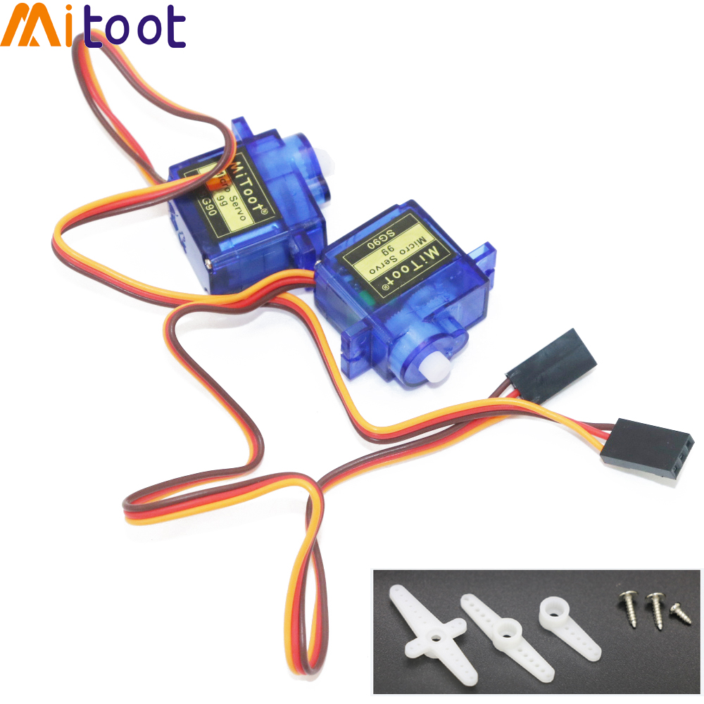 2pcs Mitoot Rc Mini Micro 9g 1.6KG Servo SG90 for RC 250 450 Helicopter Airplane Car Boat For Arduino(China)