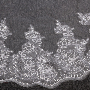 Image 5 - Velo de novia con borde de encaje de 4 metros, velo de novia con borde de encaje blanco marfil, accesorios de boda, velo de novia