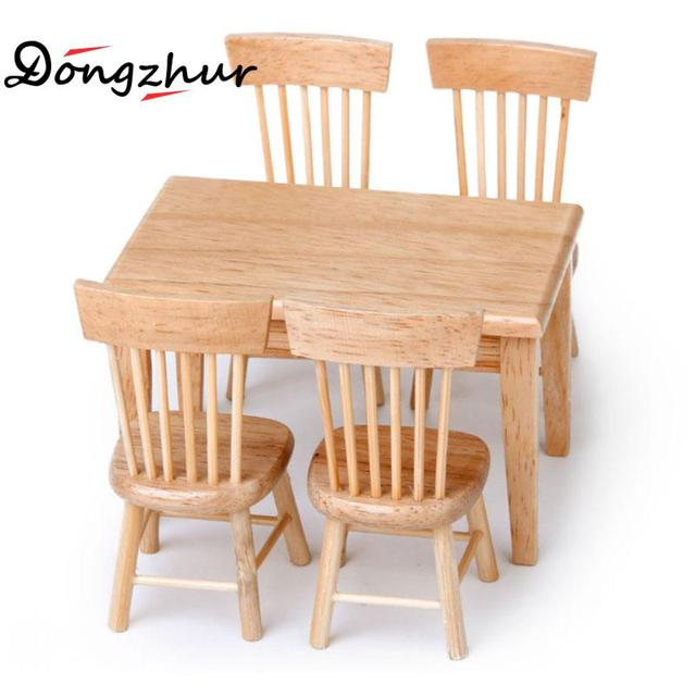 9aaba74a40c5 Dollhouse Miniature 1:12 Chalet Restaurant Combination Dining Table Chair  Furniture Doll House Wooden Toy House Accessories