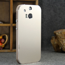 For ONE M8 No Screw  Aluminum Frame + Metal Battery Back Cover Case for HTC One 2 M8 ONE + ONE two  Bag Ultrathin Matte Surface