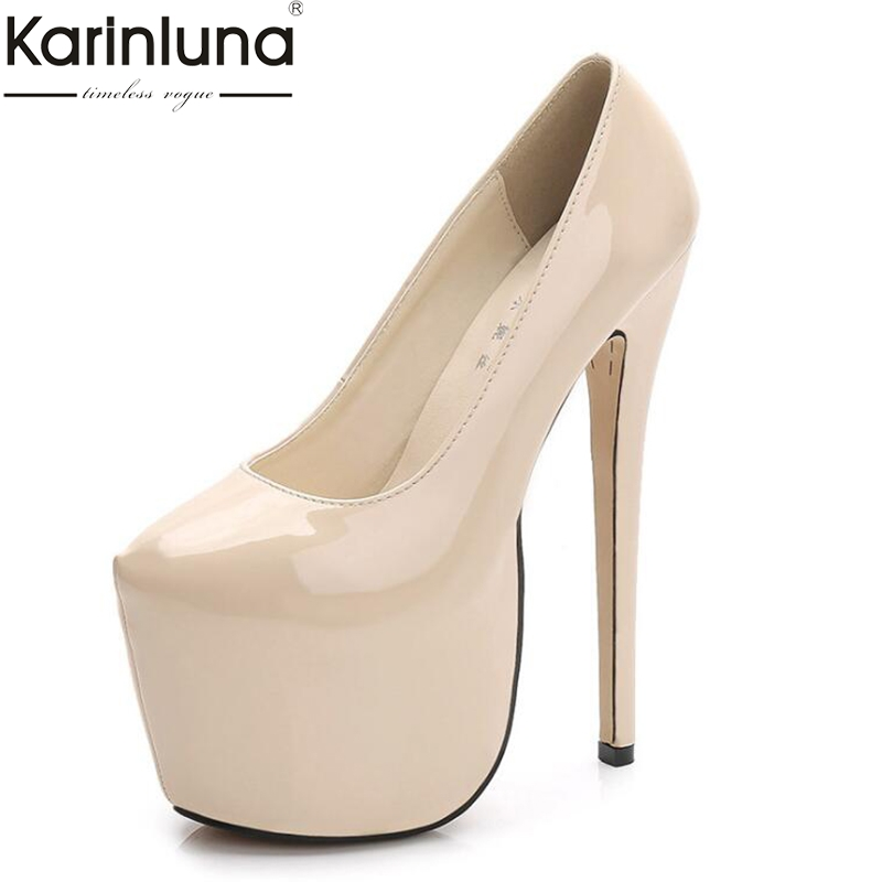 Karinluna Dropship Plus Size 44 Classic <font><b>18cm</b></font> <font><b>High</b></font> <font><b>Heels</b></font> Thick Platform Shoes Woman Lady <font><b>Sexy</b></font> Party Wedding Women Shoes Pumps image