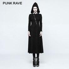 PUNK RAVE 2017 New Gothic Black Spider Web Decorations Hat Dress Backless Long Hem Punk Rock Party Evening Women's Clothing